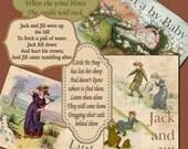 NURSERY RYHMES  and Fairy Tales 340 you print Jack Jill postcards scrapbooking cards Miss Muffett