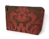 Large Zipper Pouch, Cosmetic Case, Makeup Bag - Twill Damask in Raspberry and Espresso
