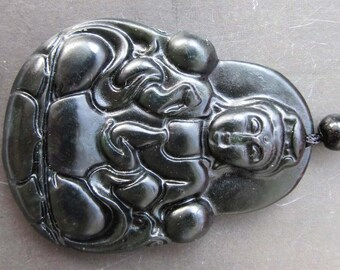 Natural Stone Tibetan Mercy Kwan-Yin Guanyin Amulet Pendant  44mm x 34mm  TH089