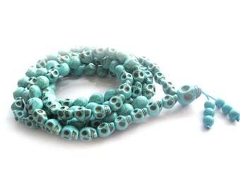 13mm x 10mm Tibetan Buddhist Imitate Blue Turquoise Carved Skull Head 108 Prayer Beads Mala Necklace  ZZ228
