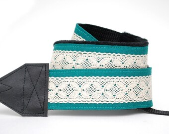 Lace SLR Camera Strap - Teal Linen & Lace