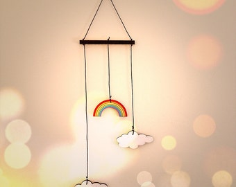 Nursery Mobile - rainbow mobile decor,wooden rainbow and clouds wall art - colorful mobile, baby mobile,baby girl happy mobile