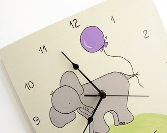 Clock- children clock, nursery clock, elephant Grey, green, purple canvas kids clock, unique clock, square clock