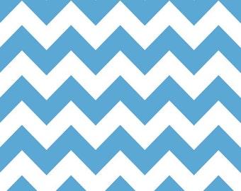 Riley Blake Chevron - Medium Blue - Medium - Cotton Quilting Weight Fabric -BTY