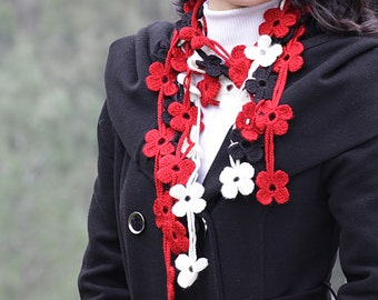 Women Crochet Scarf, Lariat, Floral in cream, red and black, Handmade Neck accessory, leaf scarf