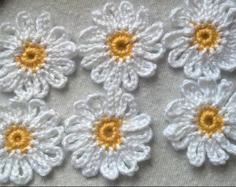 New to Shop of collection Lot of 18 Daisy Handmade Crochet Flower Appliques