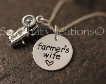 Custom Hand Stamped Farmer's Wife Necklace sterling silver with tractor charm