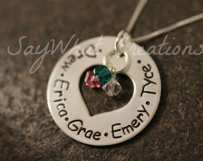 Custom Hand Stamped Sterling Silver Heart Washer Mothers Necklace with birthstones and heart cut out