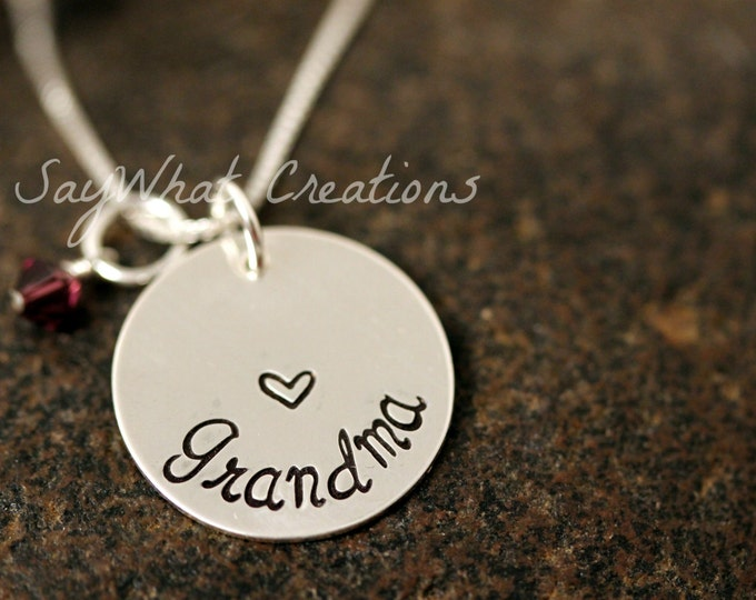 Grandmother Necklace Custom Hand Stamped Sterling Silver
