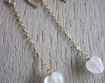 Sjans goldfilled earrings with rosequartz hearts