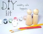 DIY Wedding Cake Peg Doll Kit with 2 unpainted Peg Dolls, paint, brushes and sealer