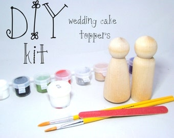 DIY Wedding Cake Peg Doll Kit with 2 unpainted Peg Dolls, paint, brushes and sealer
