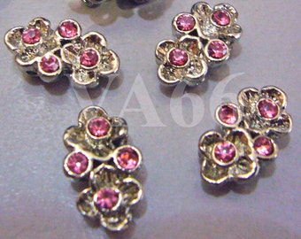 4p Crystal Pink Rhinestone Separators Silver line Bar 2 hole Spacers Findings Parts 2 strand Jewelry Bracelet Necklace Button