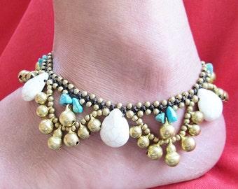 BohoHowlite Water Drop Ankle Bracelet