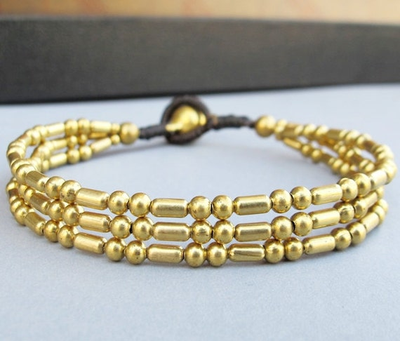 Casual All Brass Bead Multi Lines Bracelet