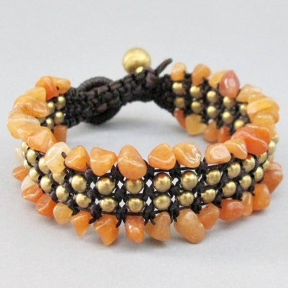 Charm Macrame Bracelet and Honey Jade Stone