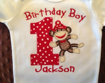 Birthday Boy Sock Monkey First Birthday Bodysuit or T-Shirt--Monkey Shirt--sock monky birthday-- sock monkey party--sock monkey shirt