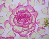 SALE...designer fabric, martha negley fabric, rose petals in grass 1 yard