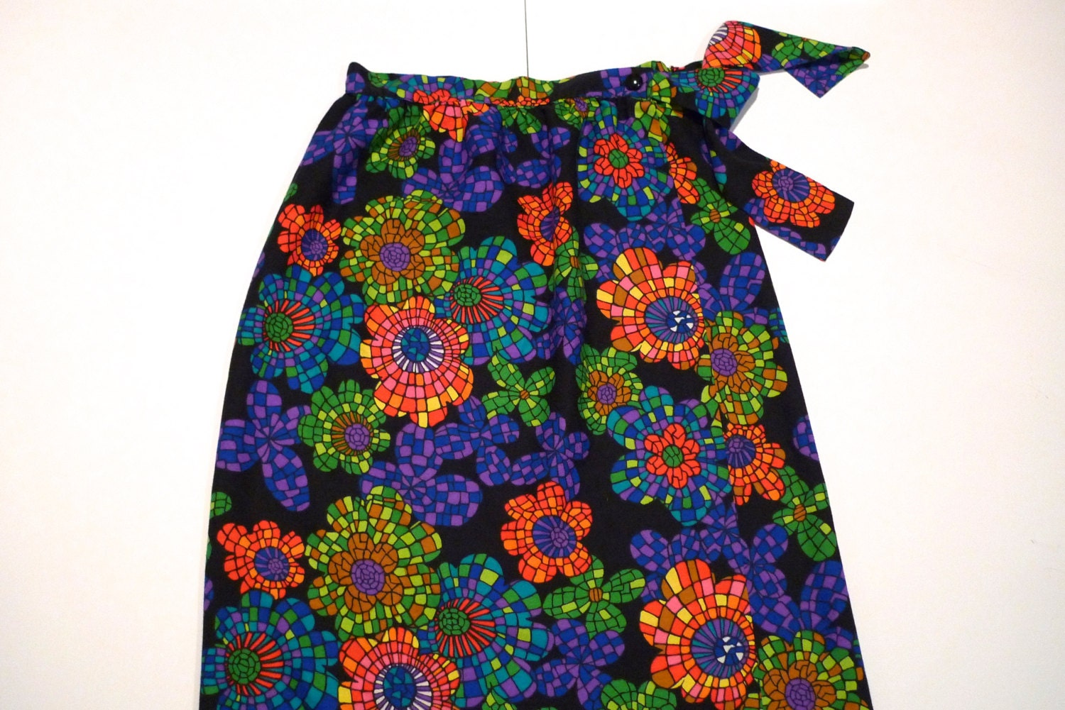 maxi skirt floral psychedelic pattern stained by plattermatter