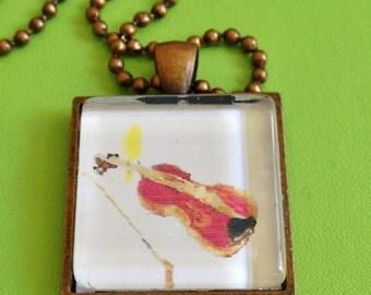 Violin with Singing Bird Necklace