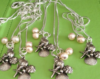 Bridal Silver Shells and Pearl Necklace