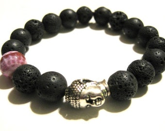 Yoga Bracelet: Black Lava Rock with Violet Fire Agate and Silver Buddha Head