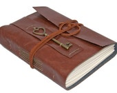 Faux Leather Wrap Journal with Heart Key Charm Bookmark - Choice of 9 colors 2 Paper options -
