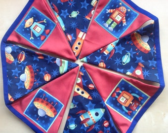 Space Rocket Alien Bunting Spaceship Banner 11 Large Flags over 6ft Length