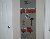 Personalized Growth Chart, M2M Land of Nod's Fire Cadet Bedding, Fire Truck
