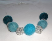 Turquoise, duck egg and silver felt necklace