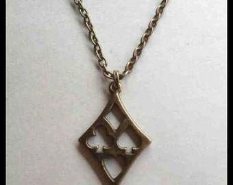 Card Suits Unisex Necklace Diamond Shaped, Alice In Wonderland