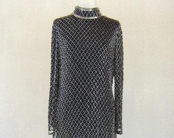 Metallic Joan Leslie Beaded Elegant Evening Gown Glam