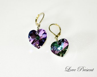 Eye catching Swarovski Crystal Dangle Earrings with Jumbo Sweet Heart - Color Heliotrope, Vitrail Light or Medium - Choose your Color