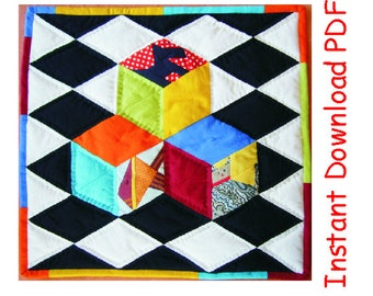 3D Paper pieced quilt  Pattern Kids cubes on chessboard Instant DOWNLOAD