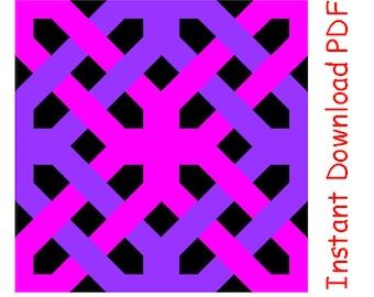Four ways knot quilt block Paper pieced PDF Pattern INSTANT DOWNLOAD