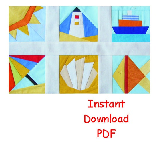 Beach Paper pieced PDF Patterns quilt blocks ship by RightPatterns