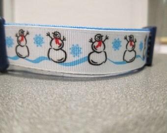 Silly Snowmen Adjustable Winter Dog Collar