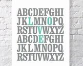 ABC A Love Letter Alphabet Typography Print. Seafoam. Valentine's Gift Housewarming Inspirational Poster Wall Art - TA104