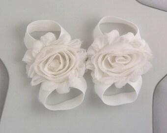 white mini shabby rose barefoot sandals