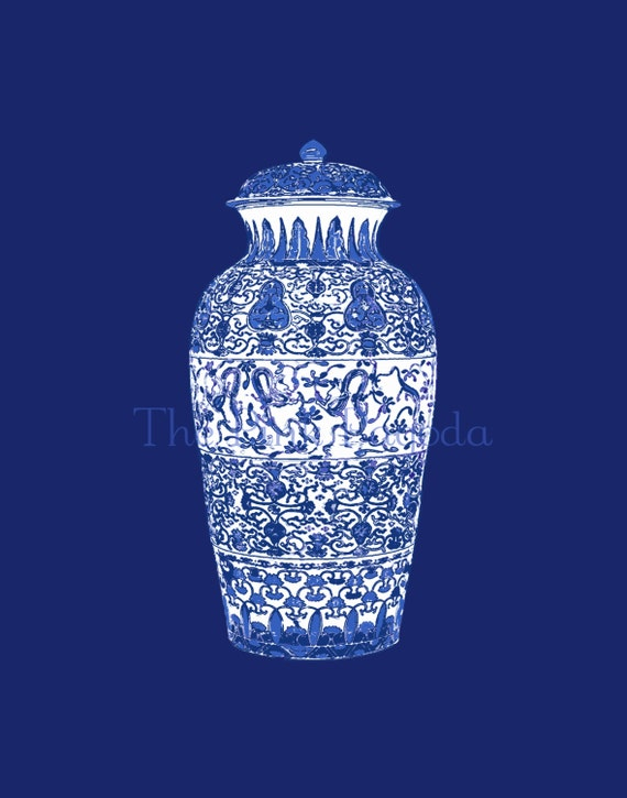 Blue and White Chinese Ginger Jar on Navy  11x14 Giclee