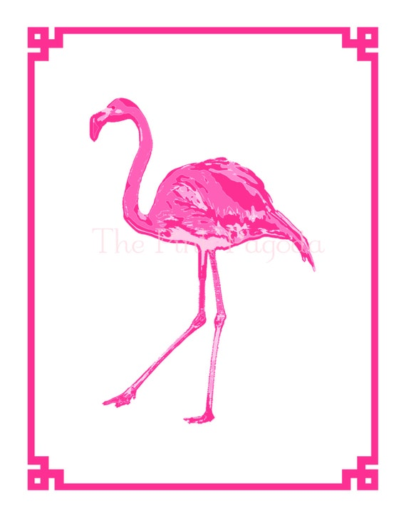 Palm Beach Chic Hot Pink Flamingo Facing Left Giclee 11x14