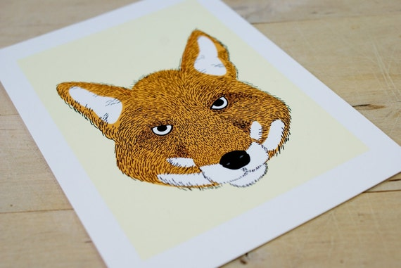 The Lookout Fox 5x7 Archival Quality Print of Pen/Digital Illustration