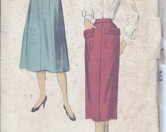 Vintage 50s 60s Advance Flared Or Slim Skirt Pattern 5912 28 Waist
