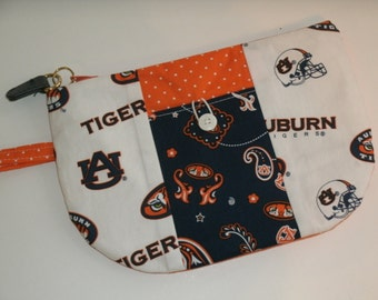 Auburn Game Day Wristlet/Wallet/Pouch with zipper top, front pocket and wrist strap