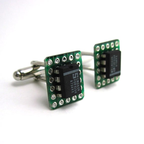 Microchip Cuff Links — Black and Green