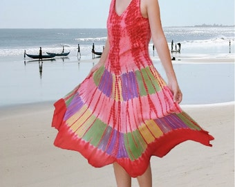 Red Batik Women holiday dresses/maxi embroidery tunics/gift ideas/colorful summer beach dresses