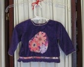 Reconstructed Recycled EcoFriendly Infant Girls' LS Purple Velour Top sz 12M Embellished with Purple Multi Floral