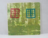 8x8 Wood Art Block Red and Blue Windows on Nature Paper Lithography