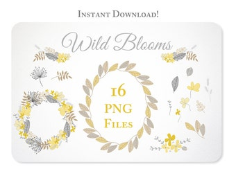 Hand Drawn Yellow & Gray Flower Wreaths, Garland and Leaves Design Elements - Instant Download - set 3