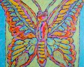 """Butterfly, Green, Blue, Painting, Psychedelic, Acrylic Painting, Original, Orange, Home Decor,  12"""" x 12"""" x 1/2"""""""